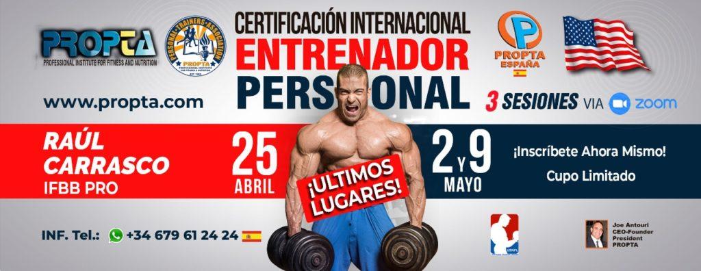 PROPTA Raul Carrasco IFBB PRO Joe Antouri Zoom personal trainer certification course international